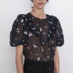 NWT Zara Floral Embroidered Top Sheer Black